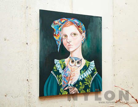 BLUE SCARF LADY CANVAS POSTER by CHAPTER ONE